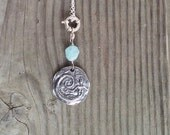 Sterling Silver Mermaid Pendant with Aqua Marine on Sterling Silver Chain
