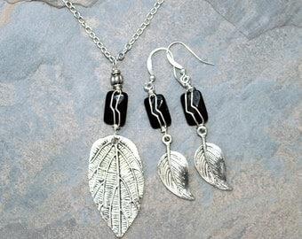 Wire Wrapped Jewelry Set, Leaf Jewelry Set, Black Onyx Jewelry Set, Fall Jewelry Set, Autumn Jewelry Set, Natural Stone Jewelry Set