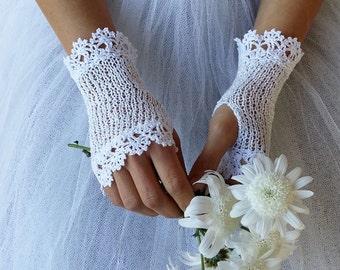 Fingerless Bridal Gloves, Wedding Gloves, Bridal Lace Gloves, White Wedding Gloves, Summer Crochet Gloves, Ivory, Black Gloves, AURORA