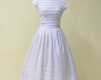 Vintage 1950s Day Dress...Sweet Pale Semi Sheer Lavender Garden Party Dress