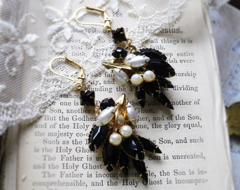 Black Tie Affair,Vintage Jet Black Glass and Pearls Cluster Flower Spray Altered Vintage Assemblage Earrings by Hollywood Hillbilly