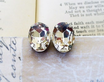 Glacier Ice ,White  Rhinestone , Estate Style ,Crystal Clear Oval Glass Post Earrings by Hollywood Hillbilly