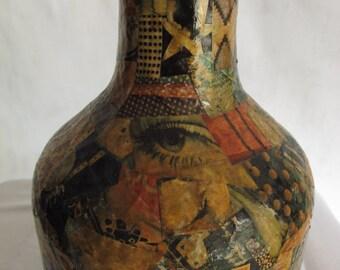1960s Decoupage Vase Hippie Art Vintage Bottle Folk Art Boho Decor Sculpture  Magazine Decoupage Art Vessel