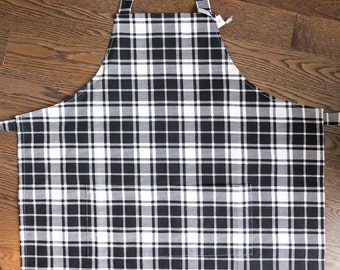 SALE Mens Full Apron / Black and White Plaid / Grilling BBQ Chef Cook Gift for Man