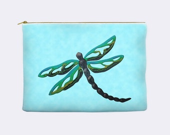 Dragonfly makeup bag, pencil case, cosmetic bag, large pencil case, zippered pouch, toiletry bag, cosmetic pouch, pencil pouch, pencil bag