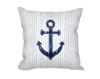 Anchor Pillow Cover, Nautical Throw Pillow, White Anchor Pillow, Navy Home Decor, Nautical Home Decor, Rustic Home Decor, Navy Anchor