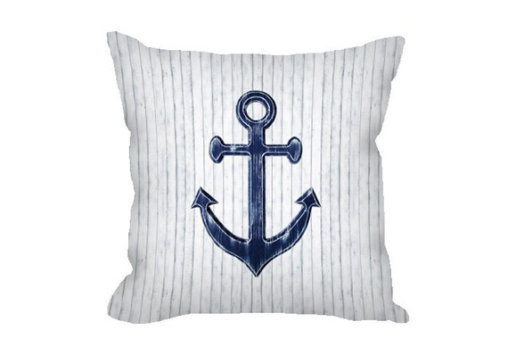 Throw Pillow Covers Nautical : Anchor Pillow Cover Nautical Throw Pillow White Anchor
