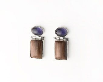 Vintage Mod Iolite and Petrified Wood Sterling Silver Post Earrings
