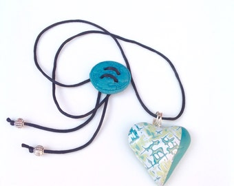 Turquoise Polymer Clay Heart shaped Necklace