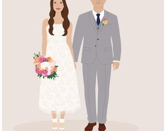 custom wedding portrait, personalized anniversary wedding holiday gift