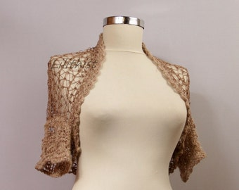 Shrug Bolero, Crochet Shrug, Knit Bolero, Crop Knit Shrug, Summer Wedding Shrug, Bridal Lace Shrug,  Beige Tan Evening Gown / S M L
