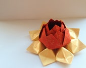 Romantic Paper Flower - Origami Lotus Flower - red, metallic gold, Valentine's Day - Table Decoration, Hostess Gift