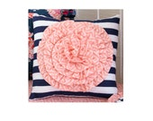Navy Stripe Rosette PILLOW ONLY with Coral Rosette Flower Ruffle, Throw Pillow for Navy Floral Coral Baby Bedding Design by Lottie Da Baby