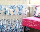 Shabby Chic Baby Girl Crib Bedding, Porcelain Blue and White Floral Crib Bedding, Pink and Blue Baby Bedding, Custom Cribset by LottieDaBaby