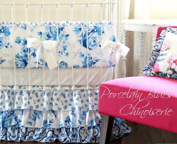 Shabby Chic Baby Girl Crib Bedding, Porcelain Blue and White Floral ...