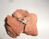 Roadrunner Bird Pin Turquoise Zuni Brooch Vintage Native American Gemstone Cutie