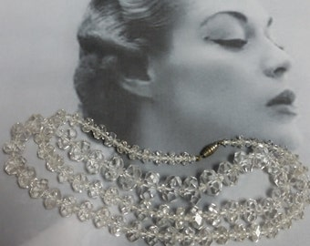 "1960s 28"" Strand Crystal Cut Clear Necklace, Variegated, Screw Closure, #59632"