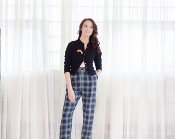 1950s Plaid Pants - Vintage 50s Trousers - Clever Gal Plaid Pants