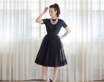 50s Silk Dress - Vintage 1950s Little Black Dress - Simple Decision Dress