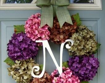 Summer Wreath - Monogram wreath for Summer Door - Summer Hydrangea Wreath - Front Door Wreath