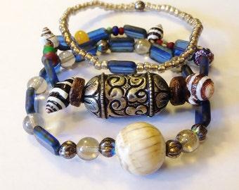 Beauty of Nepal Bracelet Trio w Bonus Earrings, Handmade Etsy, OOAK, Tibetan Silver, Czech Glass, Vintage Naga Conch Shell, Christmas,OOAK