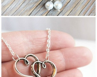 Summer Outdoors Valentine's Gift Two Hearts Necklace White Pearls Bridesmaid Gift Jewelry Girlfriend Gift for her Women's Gift Love You More