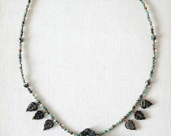 Raw Emerald Druzy Necklace Large Green Beryl Stone Crystal Rock Pendant Petite Wild African Turquoise Beaded Necklace May birthstone luxury