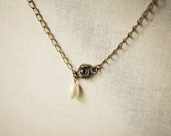 Handmade Pearl Necklace Antiqued Rose Necklace Rose Pearl Necklace Swarovski Pearl Asymmetrical Necklace Swarovski Ivory Teardrop Ivory Pear