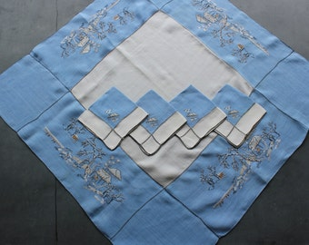 Vintage Embroidered Blue Linen Luncheon Tablecloth W/4 Napkins