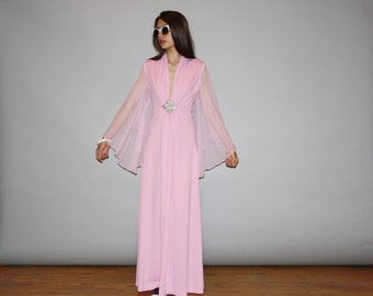 1970s Petal Pink Sheer Angel Wing Sheer Sleeve Plunging V Neck Long Maxi Dress -  Pink Evening Gown - 70s Pink Prom Dress  - WD0851