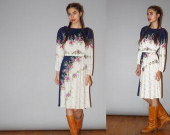 Vintage 1970s Boho Floral Lavender Hippie Festival Bohemian Dress  - Vintage Floral Dresses  - 70s Floral Dresses - WD0915