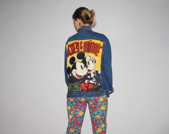 Vtg 90s Oversized XL Graphic Mickey  Minnie Mouse Sequin Beaded Denim Jacket  -  1990s Vintage Denim Jacket  -  Vintage Vetements - W00029