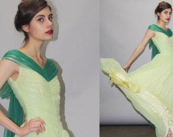 1950s Green Full Length Cupcake Bombshell Pinup Prom Wedding Dress  - Vintage Green Wedding Dress - 50s Wedding Dress - Prom Dress  - WD0802