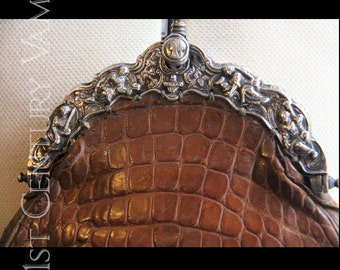 Antique Chatelaine Purse. Dutch Silver Frame with Brown Alligator Leather.