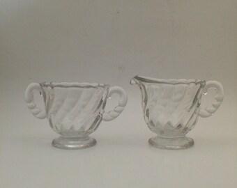 Vintage Cream and Sugar Set - Fostoria Glass Colony pattern