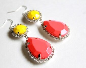 Neon Rhinestone Earrings One of a Kind Earrings Ladies Earrings Ladies Jewelry Neon Jewelry Neon Earrings Rhinestone Earrings