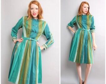 1950's Cotton Dress / 50's Shirtdress / Green Striped / Long Sleeve /