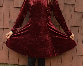 Vintage 90s Maroon Crushed VELVET Longsleeve BABYDOLL Mini DRESS with Full Skirt