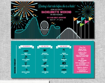 Amusement Park Invitation - Bachelorette Party Itinerary - Personalized Printable File or Print Package  #00191-PI10