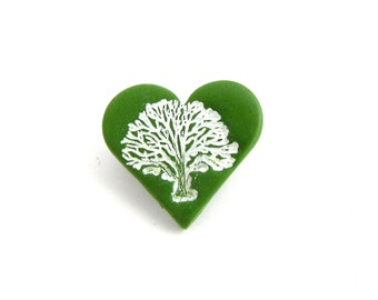 I LOVE TREES Mini Leaf Green Heart Shaped Brooch, Pin Badge, Tree Jewelry, Supremily Jewellery