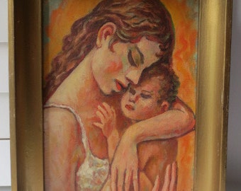 Vintage Mid-Century MOTHER & BABY Oil Painting c. 1968 Signed Vukovic Framed