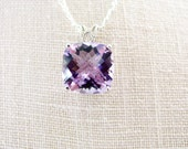 SALE Cushion Cut Violet Amethyst Necklace Sterling Silver