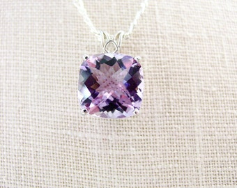 Six Carat Violet Amethyst Necklace Sterling Silver