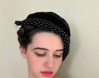 Vintage 1950s Black Velvet Hat with Rhinestones / 50s Cocktail Hat with Netting by Martha Weathered