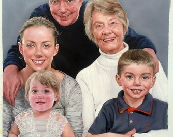 Family portrait from a photo, extra large oil painting on canvas. 100% money-back guarantee
