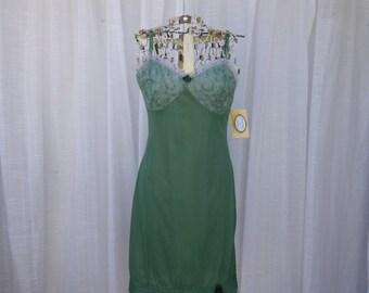 Slip Dress P/32 XS Forest Grass Green Glam Garb Handmade USA Romantic Nightgown Victorian Steam-Punk Vintage Hand Dyed Rockabilly Chic Boho