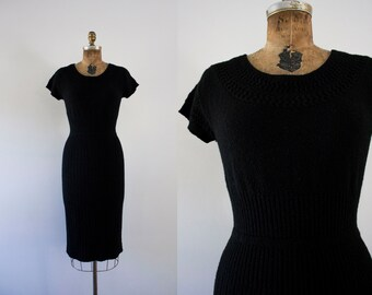 1950s Winter Solstice black knit wiggle dress / 50s hourglass