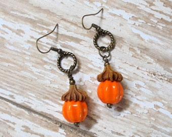 Orange Pumpkin Earrings (2306)
