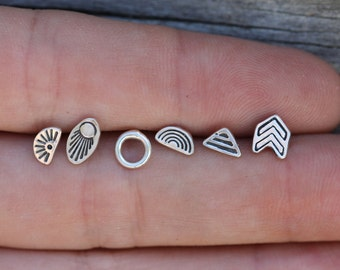 Little Sterling Silver Studs - Mixed 6-Pack