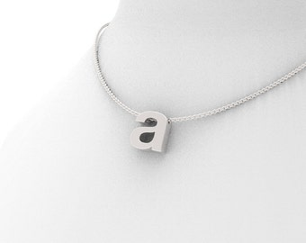 Letter A Initial Monogram Pendant Necklace in Silver - Helvetica